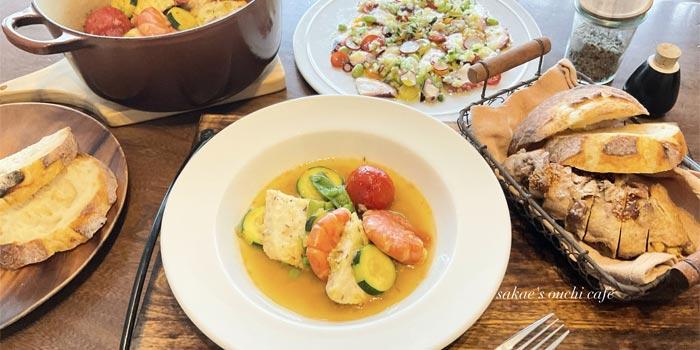 夏野菜と魚介を使用したカルパッチョ&スープ